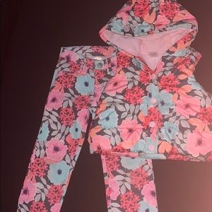 Gymboree Puffer Vest floral Girls matching jeans